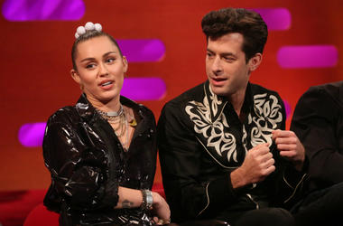 Miley Cyrus and Mark Ronson during the filming for the Graham Norton Show