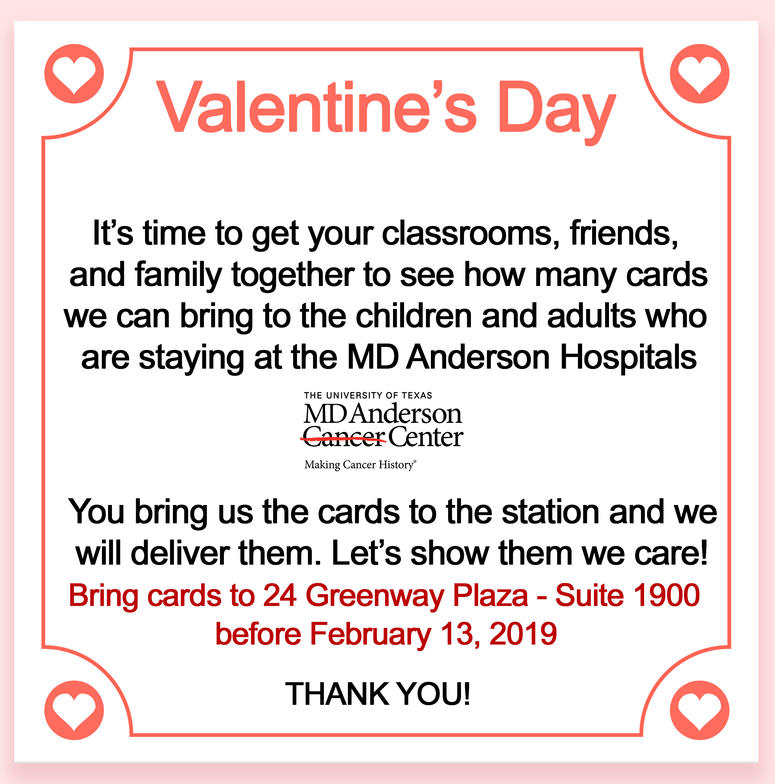 MD Anderson Valentine's Day Cards