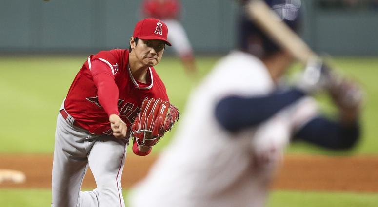 Ohtani delivers a pitch against the Astros