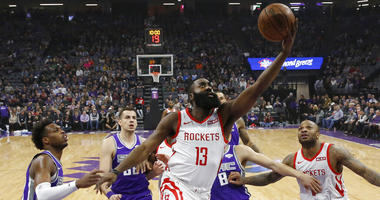 Harden makes 8 3s as Rockets thump Kings 127-101