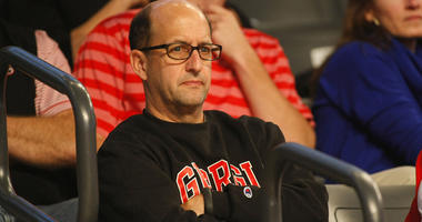 Nov 14, 2014; Atlanta, GA, USA; ESPN analyst and former head coach Jeff Van Gundy watches a game between the Georgia Bulldogs and Georgia Tech Yellow Jackets in the first half at McCamish Pavilion. Mandatory Credit: Brett Davis-USA TODAY Sports
