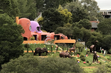 "Iconic ""Flintstones"" house in Hillsborough (Photo credit: Jennifer Hodges/KCBS Radio)"