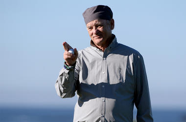 Feb 9, 2018; Pebble Beach, CA, USA; Bill Murray reacts after a putt on the 13th green during the second round of the AT&T Pebble Beach Pro-Am golf tournament at Monterey Peninsula Country Club - Shore Cours. Mandatory Credit: Orlando Ramirez-USA TODAY Spo
