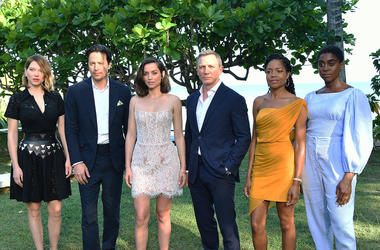 "MONTEGO BAY, JAMAICA - APRIL 25: (L-R) Cast member Lea Seydoux, director Cary Joji Fukunaga, cast members Ana de Armas, Daniel Craig, Naomie Harris and Lashana Lynch attend the ""Bond 25"" film launch at Ian Fleming's Home 'GoldenEye' on April 25, 2019 in M"