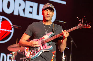 Tom Morello performs with X Ambassadors during KROQ Almost Acoustic Christmas at The Forum on December 10, 2016, in Inglewood, California (Photo by Daniel DeSlover/imageSPACE)