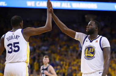 Golden State Warriors' Kevin Durant and Draymond Green