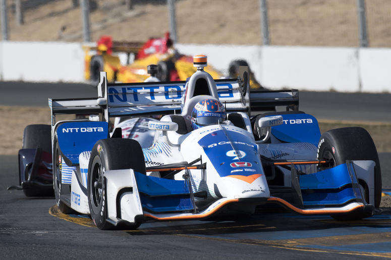 September 17, 2017; Sonoma, CA, USA; IndyCar Series driver Scott Dixon (9) drives thru turn 9 during the GoPro Grand Prix of Sonoma at Sonoma Raceway. Mandatory Credit: Kyle Terada-USA TODAY Sports