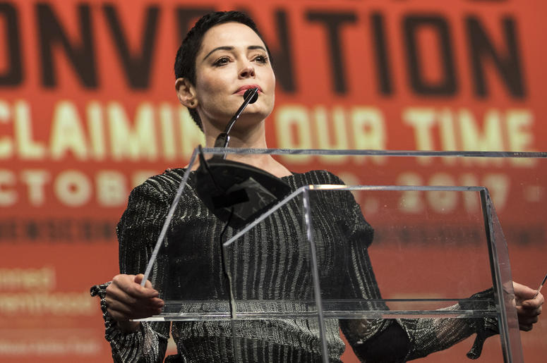 Rose McGowan speaks during The Women's Convention at Cobo Center in downtown Detroit, Friday, Oct. 27, 2017