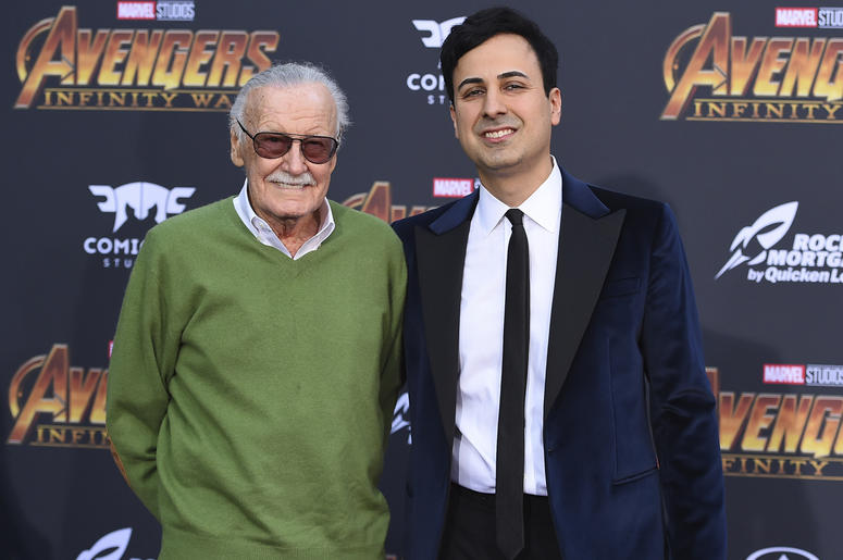 "In this April 23, 2018 file photo, Stan Lee, left, and Keya Morgan arrive at the world premiere of ""Avengers: Infinity War"" in Los Angeles. Lee has taken out a restraining order against Morgan who had been acting as his business manager and close adviser."