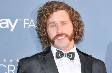 T.J. Miller and (not shown) Kate Gorney at the 22nd Annual Critics' Choice Awards held at Barker Hanger in Santa Monica, CA on December 11, 2016.