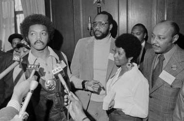 Rev. Jesse Jackson, Aretha Franklin, and Louis Stokes