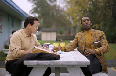 "This image released by Universal Pictures shows Viggo Mortensen, left, and Mahershala Ali in a scene from ""Green Book."" The film is nominated for an Oscar for best picture. The 91st Academy Awards will be held on Sunday."