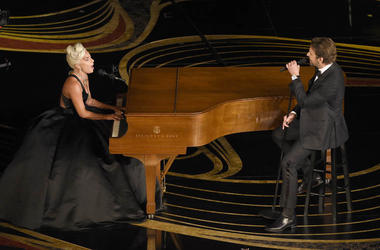 """Lady Gaga, left, and Bradley Cooper perform """"Shallow"""" from """"A Star is Born"""" at the Oscars"""