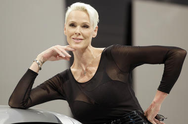 In this Nov. 26, 2010 file photo, actress Brigitte Nielsen is seen at the International Essen Motorshow Fair in Essen, western Germany. Nielsen says she has given birth at age 54. The model, actress and reality star and her 39-year-old husband Mattia Dess