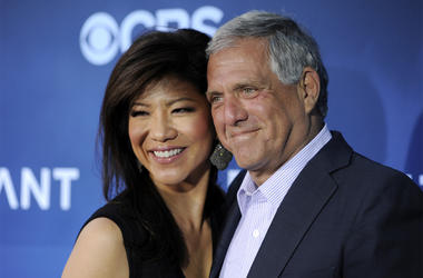 "In this June 16, 2014 file photo, Les Moonves, right, president and CEO of CBS Corporation, and his wife Julie Chen pose together at the premiere of the CBS science fiction television series ""Extant"" in Los Angeles. Chen returned to television with an unu"