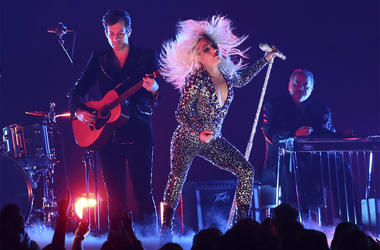 "Lady Gaga, right, and Mark Ronson perform ""Shallow"" at the 61st annual Grammy Awards on Sunday, Feb. 10, 2019, in Los Angeles. (Photo by Matt Sayles/Invision/AP)"