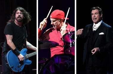 Dave Grohl, Chad Smith and John Travolta (Photo credit: Ron Elkman, Ron Elkman, Robert Hanashiro USA Today)