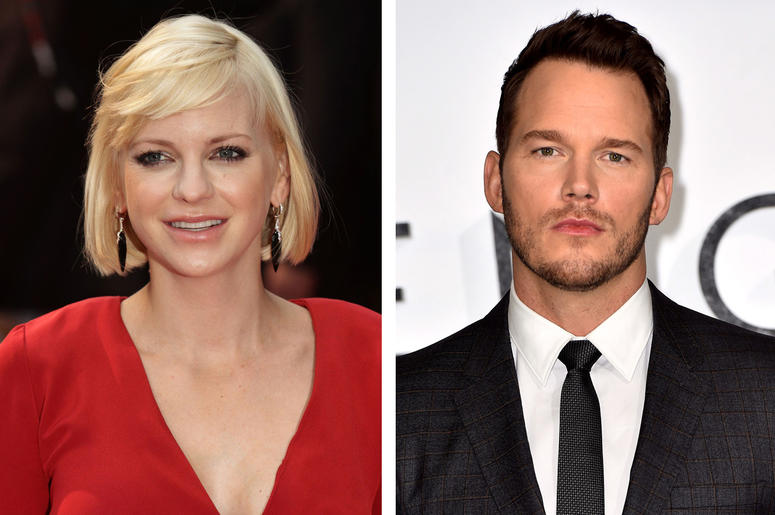"4/21/2017 - File photos of Anna Faris and Chris Pratt. Anna Faris has thanked Chris Pratt for being her ""rock"" after the premature birth of their son as the actor was honoured on the Hollywood Walk of Fame. (Photo by PA Images/Sipa USA)"