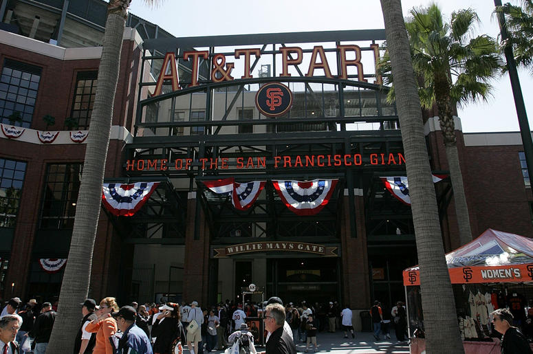 SAN FRANCISCO - APRIL 03: Fans walk by the entrance to AT&T Park for Opening Day between the San Francisco Giants and the San Diego Padres April 3, 2007 in San Francisco, California. (Photo by Justin Sullivan/Getty Images)