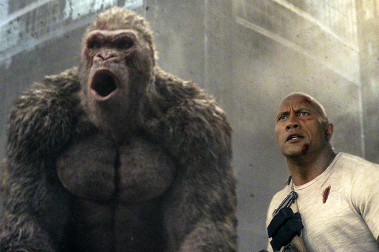 "Dwayne Johnson in a scene from ""Rampage."""