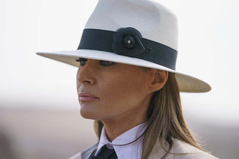 In this Oct. 6, 2018 photo, First lady Melania Trump pauses as she speaks to media during a visit to the historical Giza Pyramids site near Cairo, Egypt. First lady Melania Trump says she thinks she's among the most bullied people in the world and there a