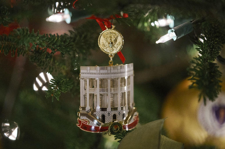 The First Family's official Christmas ornament is seen during the press preview at the White House in Washington, Monday, Nov. 26, 2018.