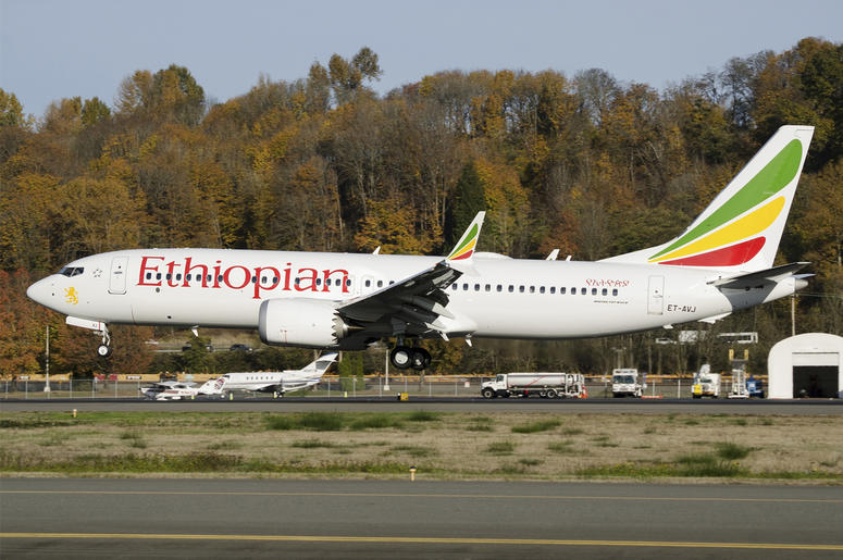 In this photo dated November 12, 2018, the actual Ethiopian Airlines Boeing 737 - Max 8 plane, that crashed Sunday March 10, 2019, shortly after take-off from Addis Ababa, Ethiopia, shown as it lands at Seattle Boeing Field King County International airpo