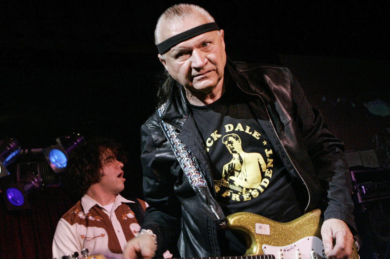"""In this May 27, 2007 file photo, Dick Dale, known as """"The King of the Surf Guitar,"""" performs at B.B. King Blues Club in New York.  (AP Photo/Richard Drew, File)"""