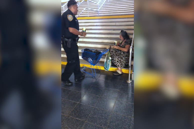 Staten Island Police Officers Celebrate Homeless Woman's Birthday with a Song and a Meal