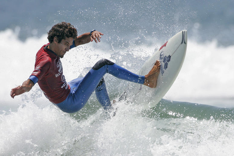 In this July 31, 2005, file photo, Rob Machado competes in the men's semifinals during U.S. Open of Surfing in Huntington Beach, Calif. (AP Photo/Jae C. Hong, File)