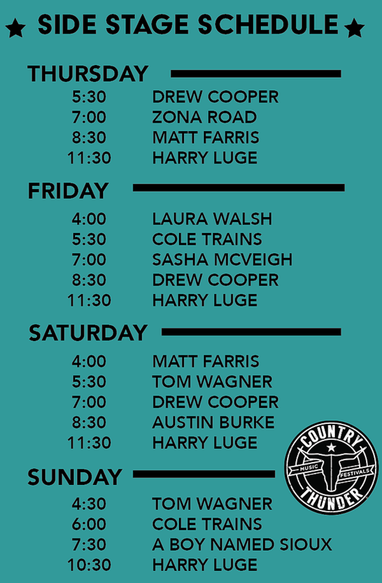 Side stage Schedule