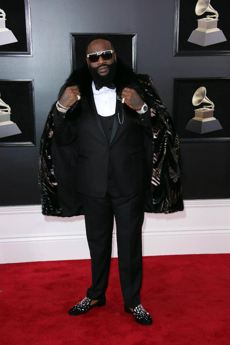 Rick Ross arrives at the 60th Annual Grammy Awards at Madison Square Garden.