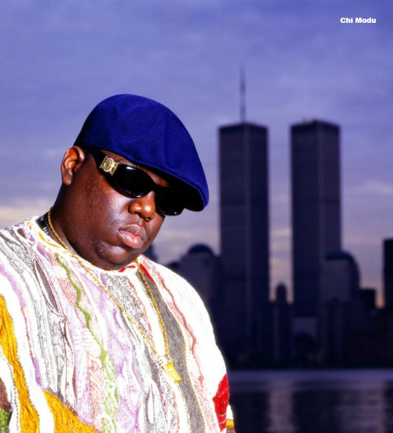 Notorious BIG standing in front of the former World Trade Center buildings in NYC - This photo is from the Defining Years of Hip-Hop 1990-2000. (Photo by Chi Modu/diverseimages)