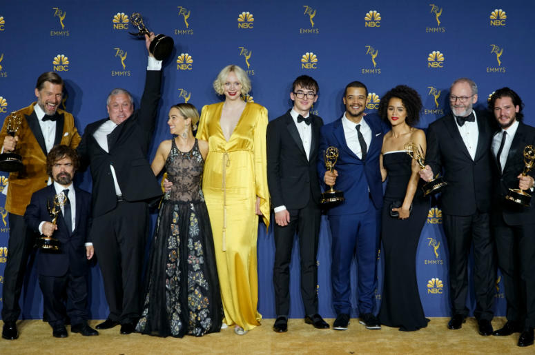 "Cast members of ""Game of Thrones"" pose for a photo after winning the award of outstanding drama series during the 70th Primetime Emmy Awards in Los Angeles"