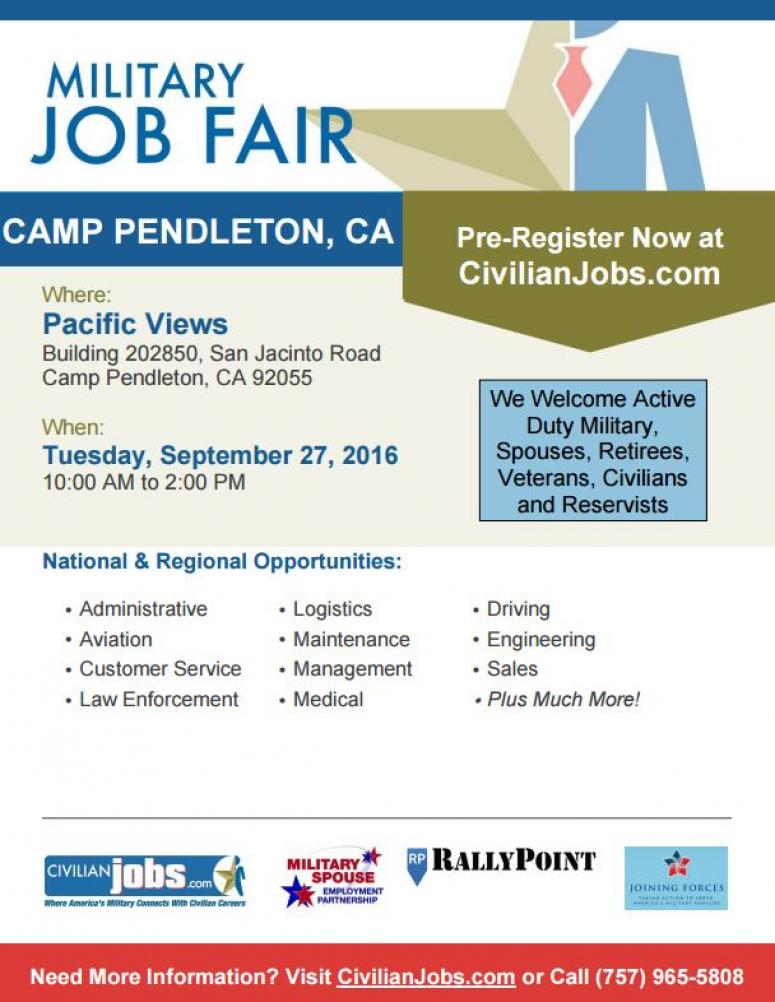 Captivating CivilianJobs.com Is Hosting A Military Job Fair Tuesday, September 27 From  10:00am 2:00pm At Building 202850 On San Jacinto Road At Camp Pendleton. All  ...