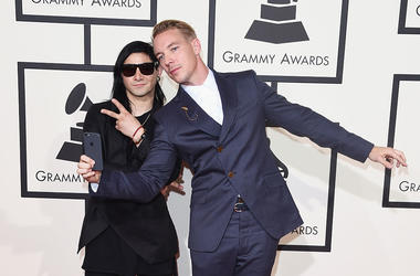 Musicians Skrillex (L) and Diplo attend The 58th GRAMMY Awards at Staples Center on February 15, 2016 in Los Angeles, California