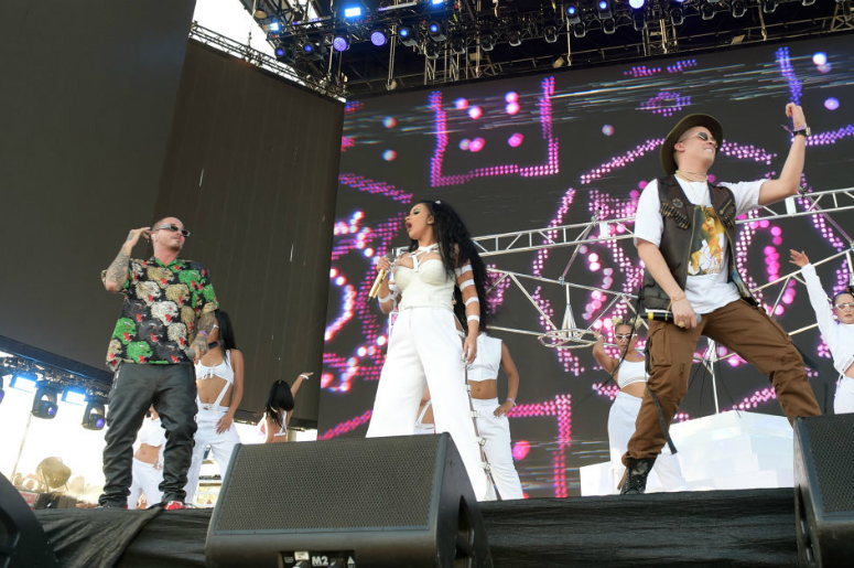 J Balvin, Cardi B, and Bad Bunny perform onstage during the 2018 Coachella Valley Music And Arts Festival at the Empire Polo Field on April 22, 2018 in Indio, California.