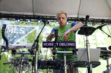 Robert DeLong performs at MLS Summer Beat before the start of a match between the Seattle Sounders FC and the Portland Timbers at CenturyLink Field.