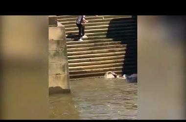 Hilarious video as man tumbles down set of steps into Thames