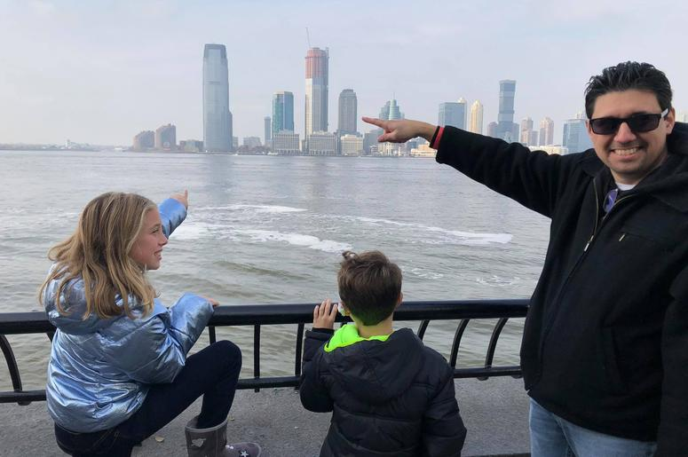 Showing the kids where I used to work in New Jersey right over the Hudson River