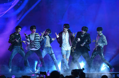 Jungkook, Jimin, V, Suga, Jin, j-hope of BTS perform at the 2018 Billboard Music Awards at MGM Grand Garden Arena on May 20, 2018 in Las Vegas, Nevada.