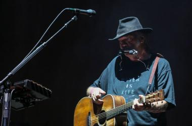 Neil Young on stage at Desert Trip