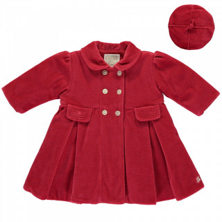 Velour padded Coat, with pleats & Beret