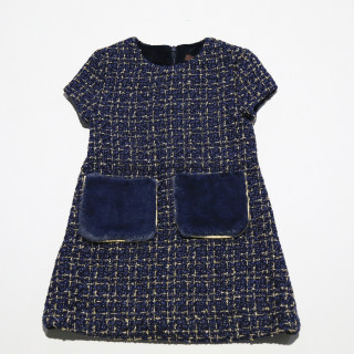 Tweed dress w / fur pockets