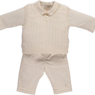 3pc knit tank Top, woven Trs & jersey Shirt
