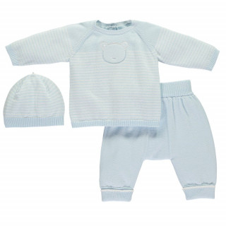 2pc true knit stripe/bear Top,Trousers & Hat