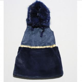 FUR SKIRT DRESS / COBALT