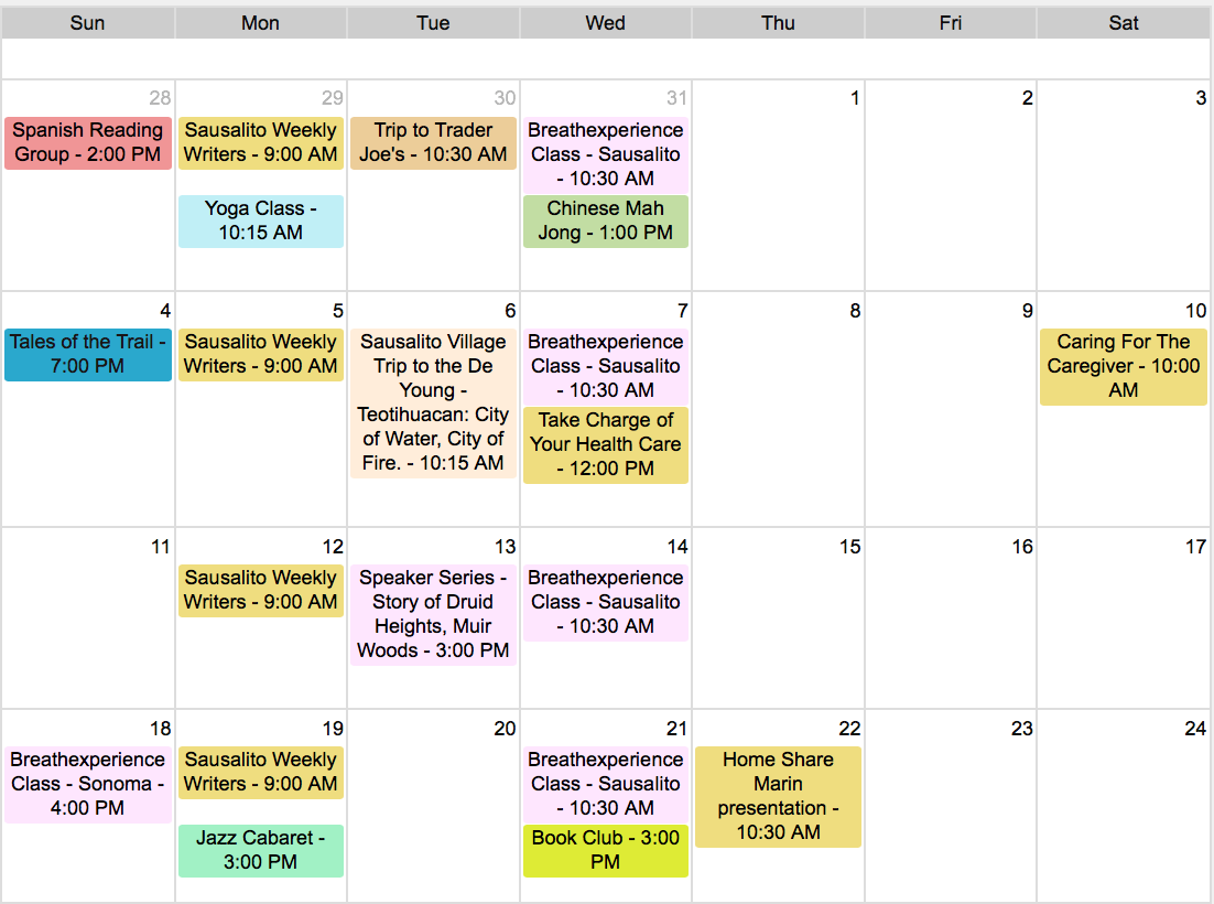 Sausalito Village Events Calendar