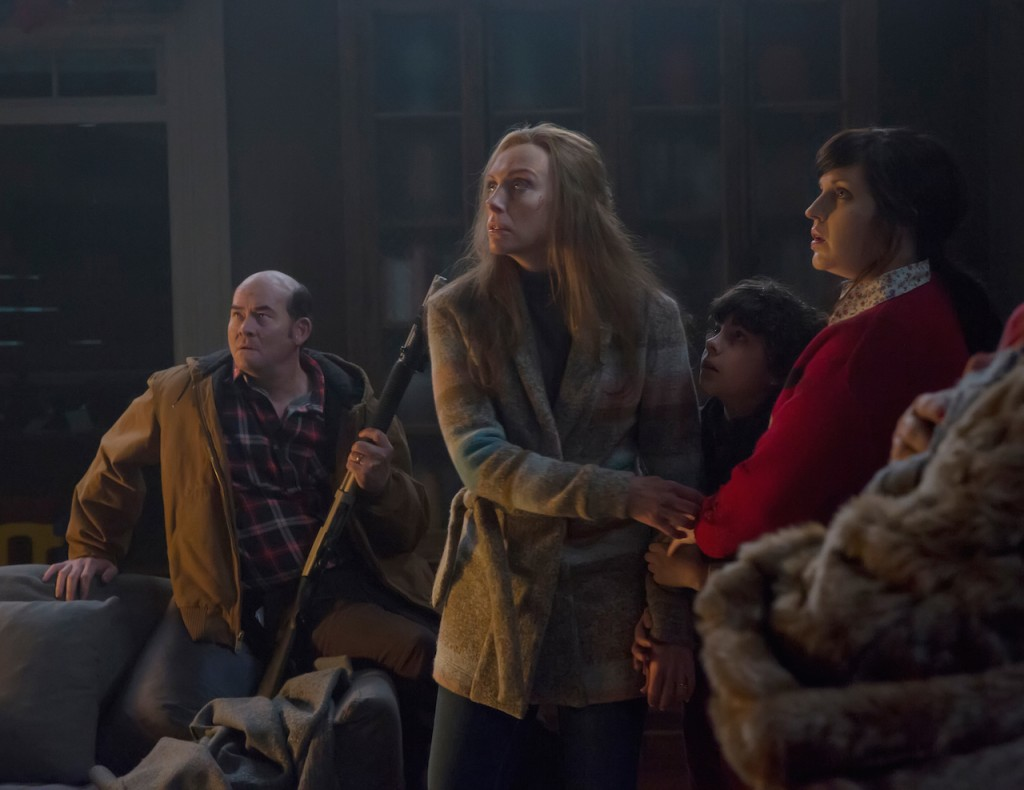 Krampus (2015) Howard (Koechner), Sarah (Collette), Max (Anthony), and Linda (Tolman) prepare for more shit to hit the fan.