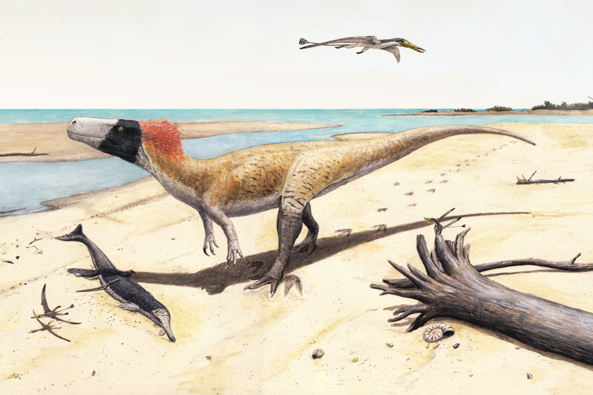 Artist's reconstruction of a Wiehenvenator in its natural environment.